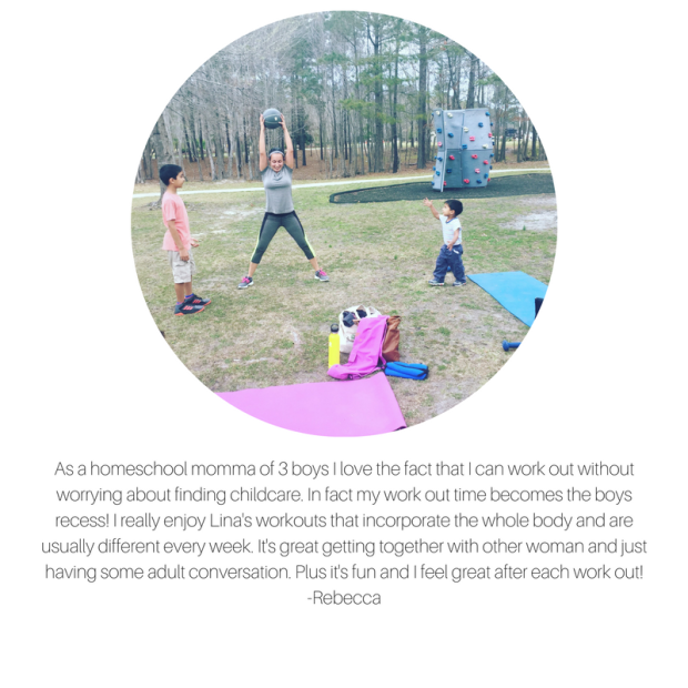As a homeschool momma of 3 boys I love the fact that I can work out without worrying about finding childcare. In fact my work out time becomes the boys recess! I really enjoy Lina Mariann's workouts that incorporate (7).png